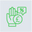 Green icon of hand an money