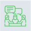 Green Icon of people having a conversation