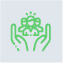 Green hands with people in icon