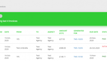 Screen shot of the platform invoices section